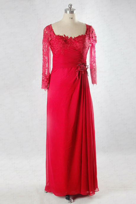 Lace Sleeve Back Red Mother Of The Bride Dress