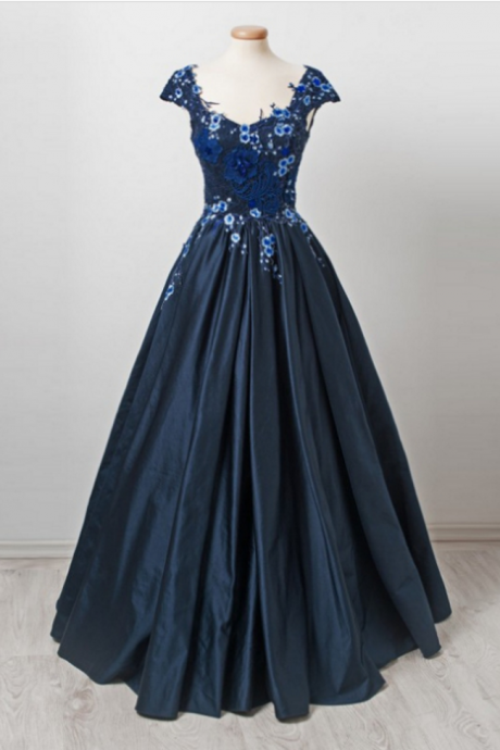 Charming Prom Dress, Elegant Prom Dresses, Sexy Evening Party Dress, Cap Sleeve Evening Dress