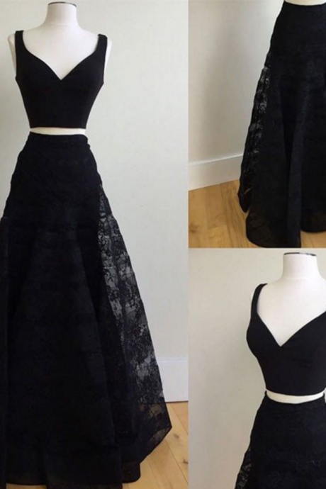 Cheap prom dresses ,Two Pieces Long Black Lace Prom Dresses V-neck Women Party Dresses