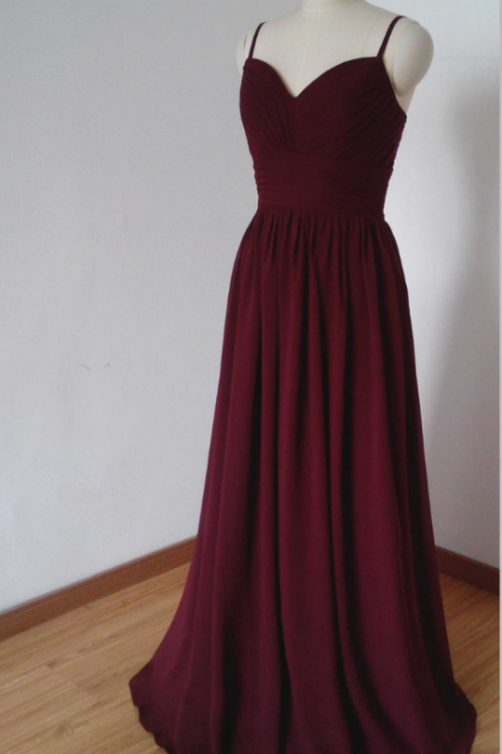 Spaghetti Straps Bridesmaid Dresses,Burgundy Bridesmaid Dresses,Chiffon Bridesmaid Dresses,Country Style Bridesmaid Dresses,Long Bridesmaid Dresses