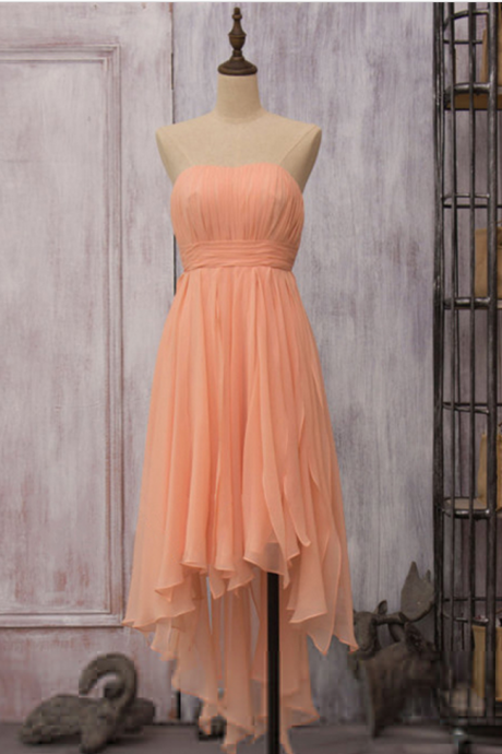 Asymmetrical High Low Orange Bridesmaid Dresses