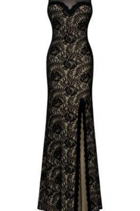 Sleeveless Long Black Lace Split Side Evening Formal Dress