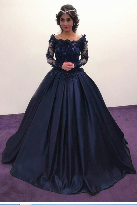 Navy Blue Prom Dresses,Long Sleeves Prom Dresses,Long Sleeves Engagement Dress,Vintage Wedding Dresses