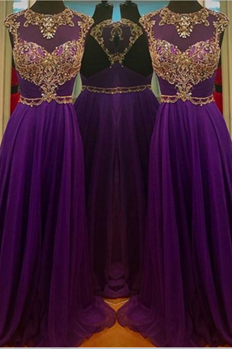 Illusion Neck Beaded Purple Prom Dress with Open Back evening dresses