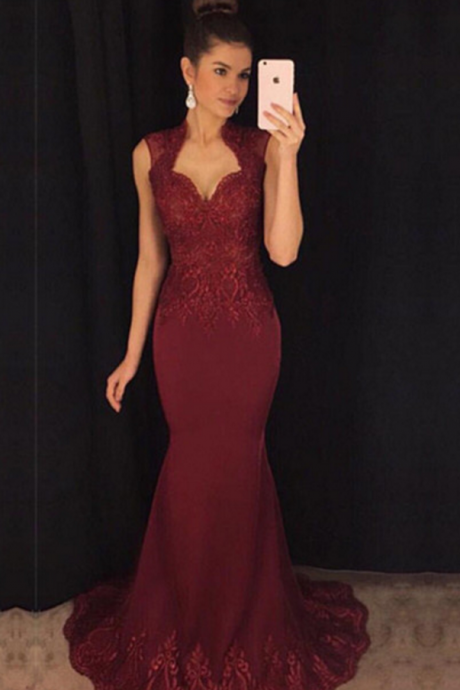 707ee9853daa burgundy evening Gowns,Mermaid Prom Dress,Cap Sleeves Evening Dress,Lace  Applique Dress
