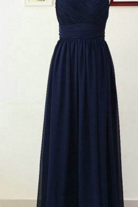 Spaghettis Navy Bridesmaid Dresses Floor Length