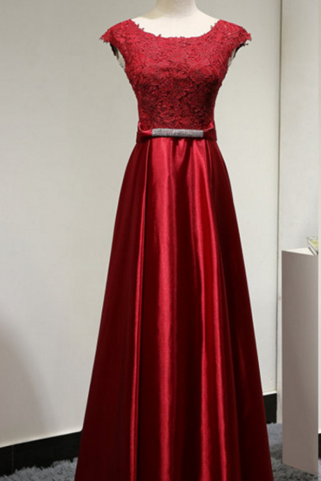 Burgundy Long Satin A-Line Formal Dress Featuring Lace Scoop Neck Cap Sleeve Bodice