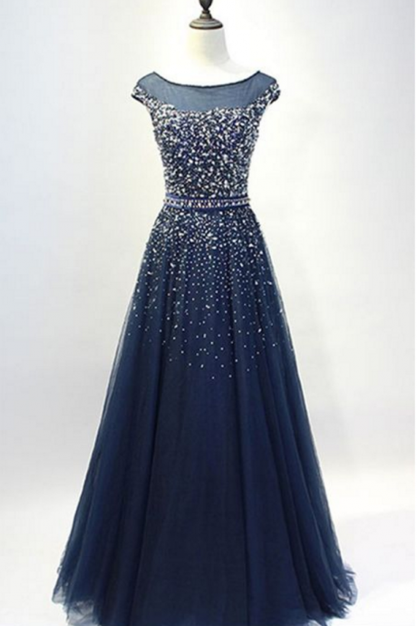 Glamorous A-Line Round Neck Navy Blue Long Prom/Evening Dress with Beading