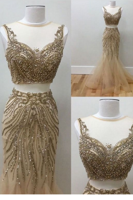 Elegant Two Piece Prom Dress,Beaded prom dress,sexy prom dress