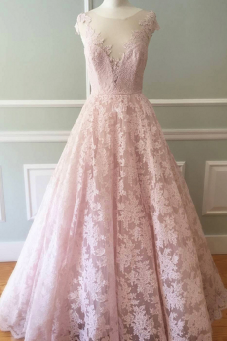 Blush Pink Sheer Lace A-line Floor-Length Prom Dress, Evening Dress