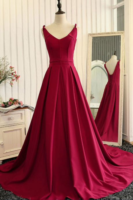 Elegant A-line Prom Dress, Backless Wine Red Prom Dress, Stain Long Party Dress