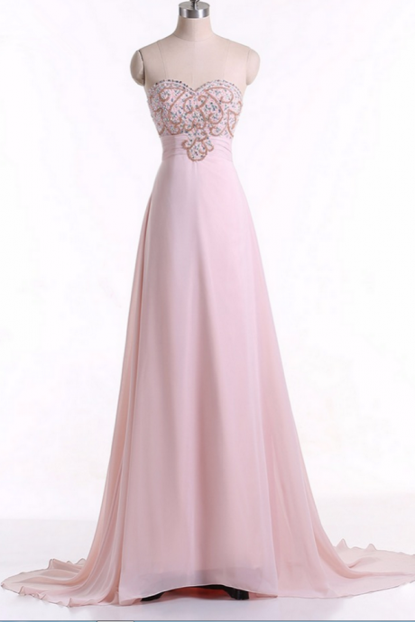 Pink Sweetheart Floor-length A-line Prom Evening Dress with Beaded Embellished Bodice