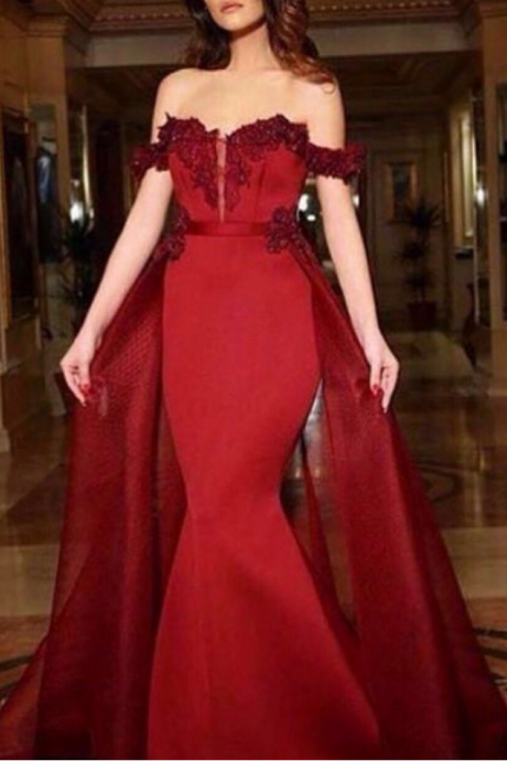 Prom Gown,Red Prom Dresses With Lace,Off The Shoulder Evening Gowns,Mermaid Formal Dresses,Red Prom Dresses,Custom Made Formal Prom Dress,