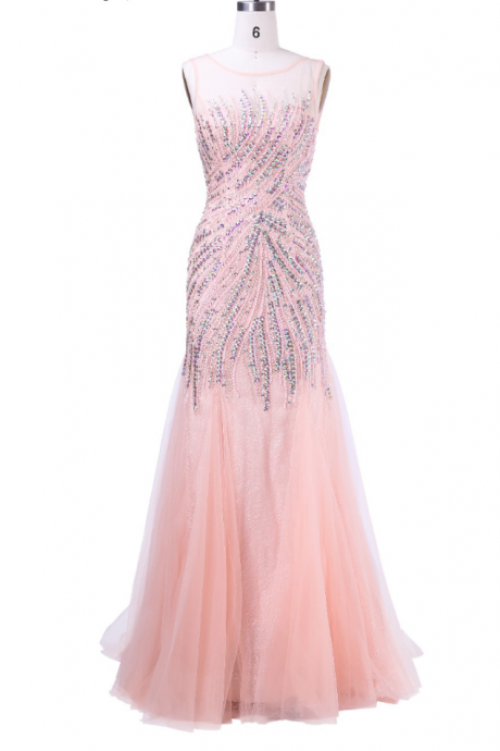 The pink beaded long party dress for the evening gown