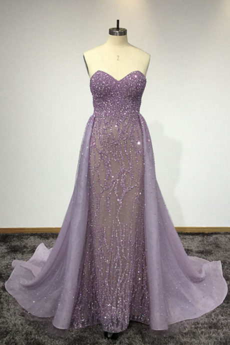 Purple Beaded Embellished Sweetheart Floor Length Formal Dress Featuring Court Train, Prom Dress