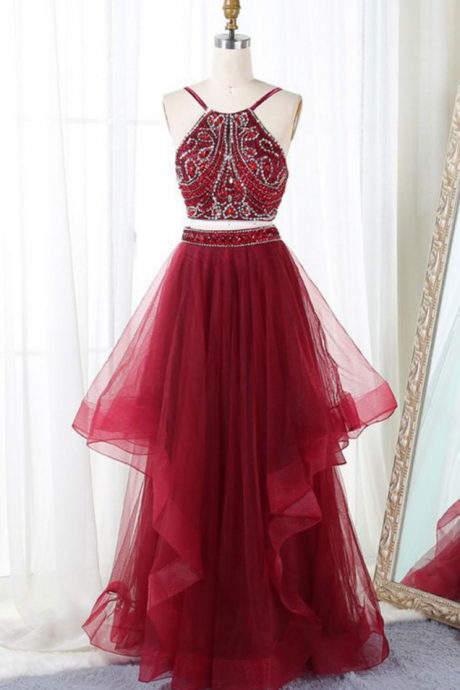 Sexy Two Piece Sparkly Beaded Long Prom Dresses Party Gowns