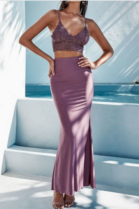 Two Piece Sheath Prom Dress, Spaghetti Straps Long Party Dress, Simple Backless Evening Dress