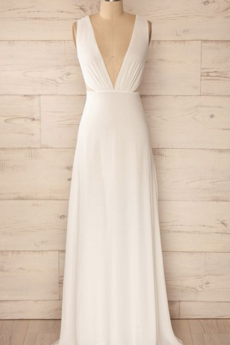 White Deep V-Neckline Floor Length Chiffon Prom Dress, Bridesmaid Dress