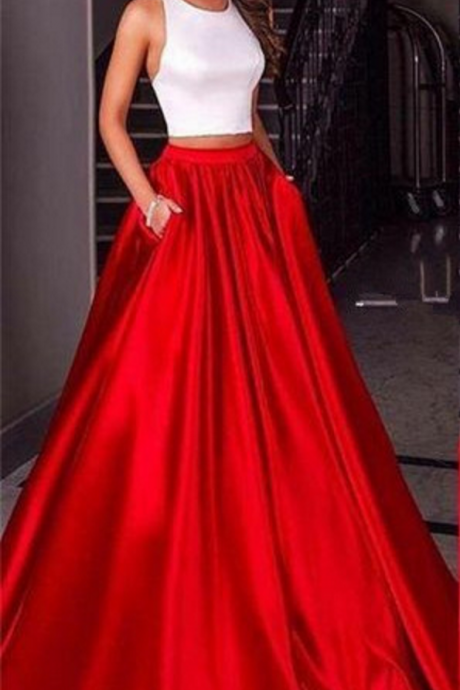 Two Pieces Prom Dress,A Line Prom Dress,Backless Prom Dress,Fashion Prom Dress,Sexy Party Dress, New Style Evening Dress
