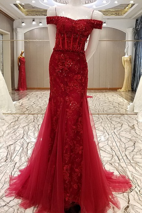 New advanced clothing tailoring mermaid luxury flowers married sexy lace Fishtail gown evening wine formal party dress