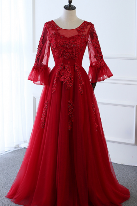 Long-sleeved dress winter evening win lady married transparent red dress beautiful dress coat using outdoor festival party dress