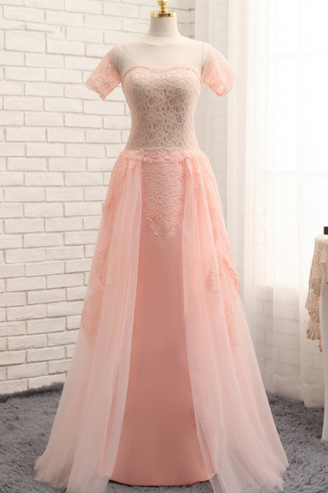 Detachable Skirt Evening Dresses Sheath Cap Sleeves Pink Chiffon Lace Elegant Long Evening Gown Prom Dresses Prom Gown