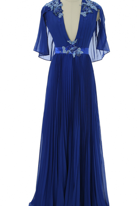 Royal Blue Prom Dresses A-line V-neck Chiffon Lace Beaded Sexy Long Prom Gown Evening Dresses Evening Gown Robe De Soiree