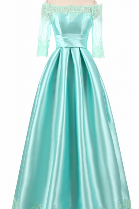 Floor Length Satin Formal Emerald Mint Green Lime Dark Sexy Long Evening Dresses Mother of the Bride Wear Made In China