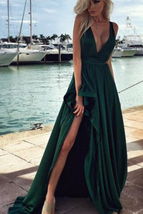Chiffon V-neck Evening Dress Discount Sleeveless Sweep/Brush Train Split Front A-Line Evening Dress