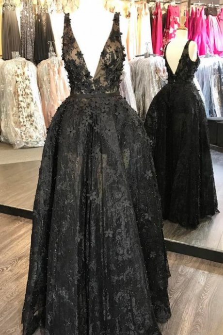 3D Floral Appliques Evening Gowns Lace Sexy V Neck Prom Dress Bead Plus Size Little Black Formal Dresses