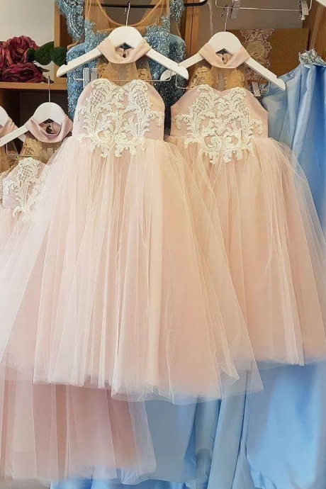 Lovely Flower Girl Dress,High Neck Flower Girl Dresses, Long Flower Girl Dresses,Lace Flower Girl Dresses,Appliques Sheer Back Flower Girl Dress,Princess Dress for Girls, Teenagers Kids Party Gowns