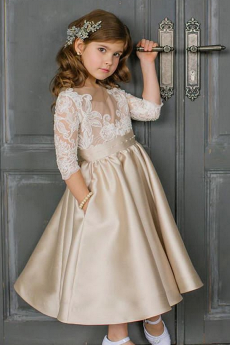 Lovely Ankle Length Satin Flower Girls Pageant Dresses with Half Lace Sleeves and Pockets