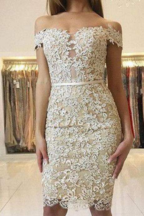 Homecoming Dresses Champagne Short Sleeve Lace/Satin Zippers Sash Knee-length Off The Shoulder Neckline/Sheath