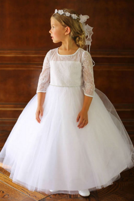 2016 Long Sleeve Lace Sweet Flower Girl Dress For Weddings Vintage Ball Gown Pageant Birthday Dresses for Girls First Communion Dresses