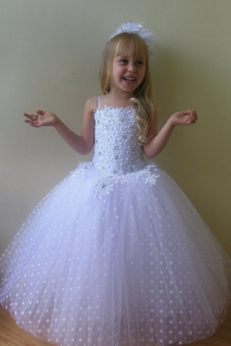 Luxury Flower Girl Dress With Handmade Flowers Floor Length Long Girl Formal Party Dresses For Weddings