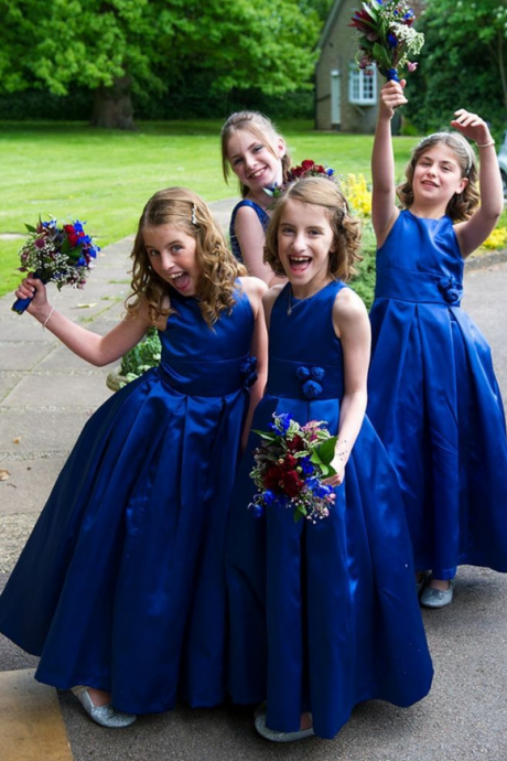 Simple Long Royal Blue Flower Girl Dress Flowers Girl Pageant Scoop Tank Taffeta Flower Girl Dresses To Wedding Ceremony