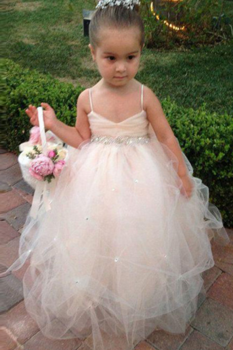 Beauty Cheap Cute Flower Girl dresses Ball gown Tulle Spaghetti Beads Lovely Kids Children Dress Hot sale Little girls dress
