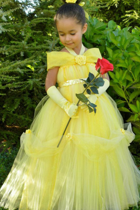 Yellow Flower Girl Dresses, Halter Girl Party Dress, Hand Made Flower Girl Dress, Long Tulle Girl Pageant Dresses, Little Flower Girl Dresses