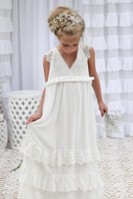 Boho Ivory Long Flower Girl Dress