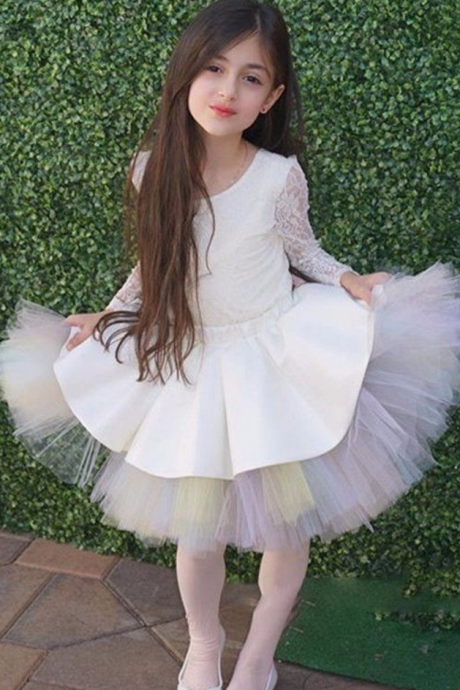 Bithday Party Scoop A-Line Tulle Above Knee Lace Long Sleeve Communion Dresses First Communion Dresses For Girls