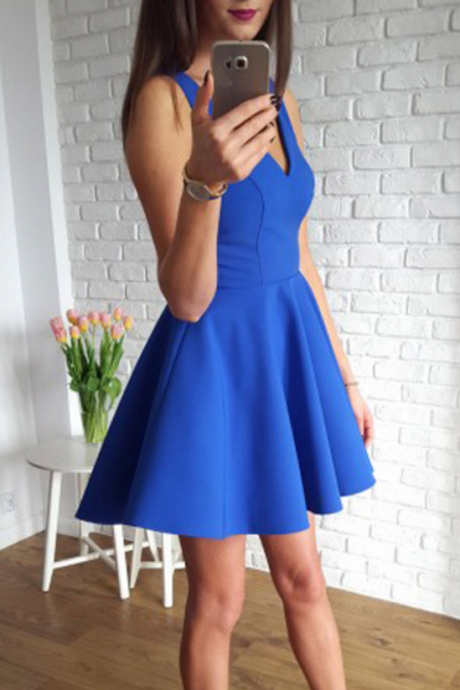 Simple Prom Dresses,A-Line Homecoming Dress,V-Neck Homecoming Dresses,Sleeveless Prom Dress,Satin Homecoming Dresses,Short Homecoming Dress
