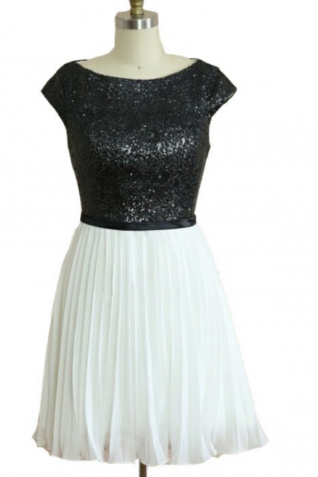 Capped Sleeves Black and White Homecoming Dresses Aline Paillette Above Knee Bateau Sheer Back Aline