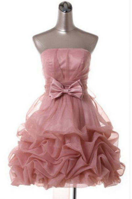 Top Selling Homecoming Dresses With Bow On Waist Strapless Draped Pink Homecoming Dresses Ball Gown Organza party Dresses