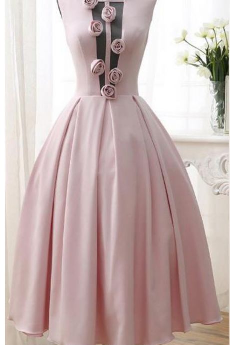 3D-Floral Flowers Homecoming Dresses Tea Length Sexy Low V Back Pink Girl Prom Dresses Graduation Dresses