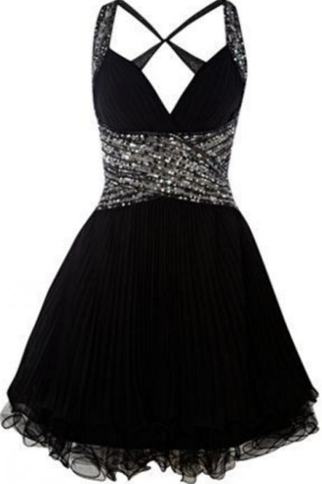 Cute Black Homecoming Dress,Elegant Silver Rhinestone Prom Gown,Beaded Straps Lady Party Dress, Tulle Short Backless Cocktail Dress
