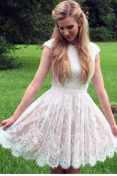 white pearl beaded lace homecoming dresses short prom party dresses