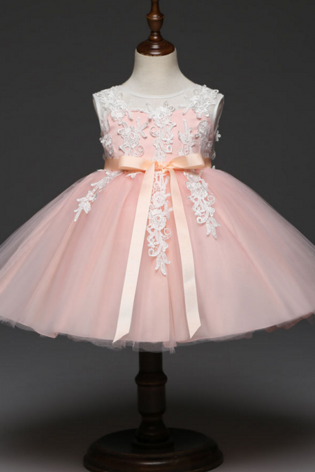 Kids Sleeveless Lace Flower Girls Dress Tutu Princess Formal Party Birthday Ball Gown Children Clothes salmon