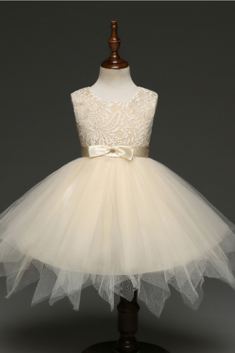 Princess Lace Flower Girl Dress Kids Children Clothes Christmas Tutu Party Perform Prom Gown as pic