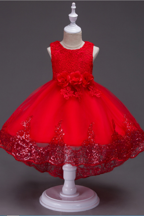 Girls Lace Trailing Flower Girls Dress Bow Kids Sequins High Low Party Prom Dress Children Clothes red