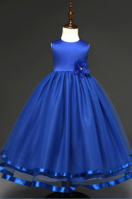 Custom Made Royal Blue Satin Ball Gown Evening Dress with Floral, Kids Clothing, Party Frock, Flower Girl Dresses, First Holy Communion Dresses, Pageant Dress